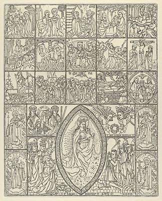 Neches Drawing - The Fifteen Mysteries And The Virgin by Francisco Dom�nech