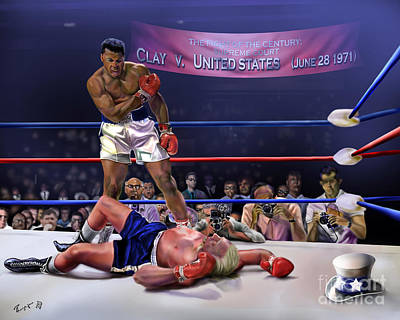 Boxer Painting - The Fight Of The Century - June 28 1971 C-vs-us by Reggie Duffie