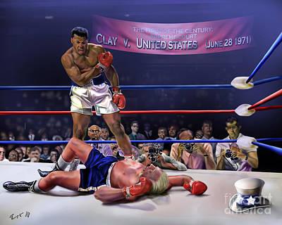 The Fight Of The Century - June 28 1971 C-vs-us Art Print by Reggie Duffie