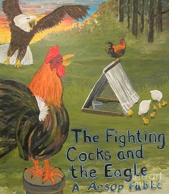 Hens And Chicks Painting - The Fighting Cocks  The Eagle-a Aesop Fable by Susan  McNeil