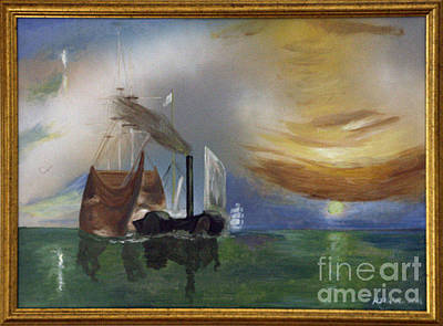 Temeraire Painting - The Fighting Temeraire 1837 by Richard John Holden RA