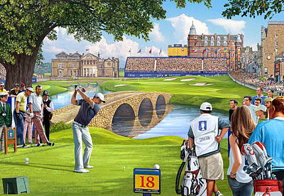 Caddy Painting - The Final Hole -golfers Paradise by Steve Crisp
