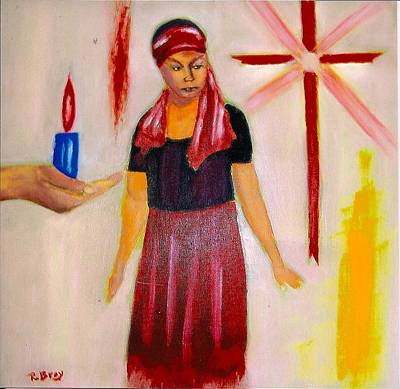 The Fire And The Cross Art Print by Robert Bray