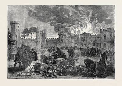 The Fire At Warwick Castle 1871 Print by English School