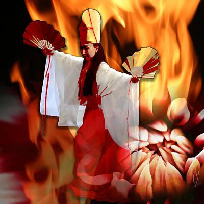 Digital Art - The Fire Bird by Maria Jesus Hernandez
