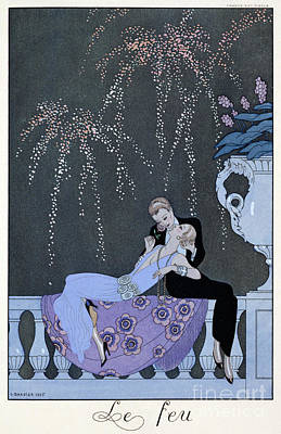20s Painting - The Fire by Georges Barbier