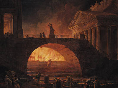 Aflame Painting - The Fire Of Rome by Hubert Robert