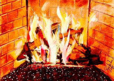 Painting - The Firepit by Renee Michelle Wenker