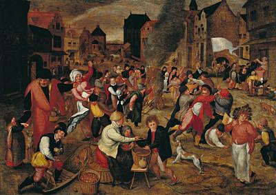 The Fires Of St. Martin Oil On Panel Art Print by Maerten van Cleve