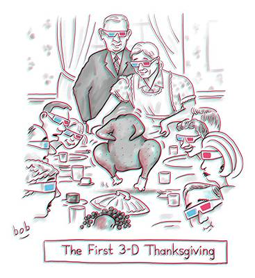 November 26th Drawing - The First 3-d Thanksgiving.  A Turkey Is Dancing by Bob Eckstein