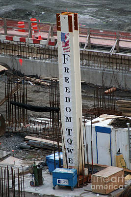 Print featuring the photograph The First Beam Of The Freedom Tower by Steven Spak