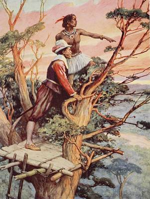 Native Drawing - The First Englishman To See The Pacific by Arthur A. Dixon