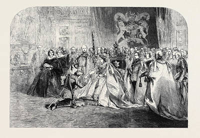 First Star Drawing - The First Investiture By Her Majesty by English School