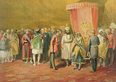 Knighthood Drawing - The First Investiture Of The Star by William 'Crimea' Simpson