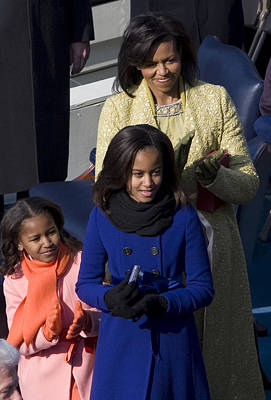 Michelle Obama Photograph - The First Lady And Daughters by JP Tripp