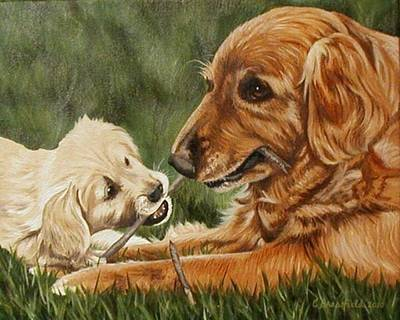 Painting - The First Lesson-sharing by Cynthia Brassfield