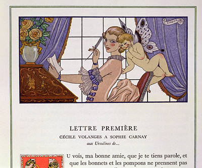 Make-up Painting - The First Letter by Georges Barbier