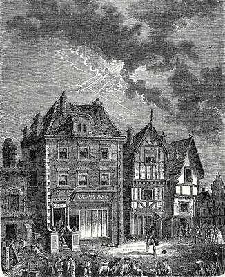 Old Philadelphia Drawing - The First Lightning Rod Created By Franklin In Philadelphia by English School