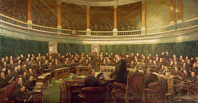 Desk Painting - The First Meeting Of The London County Council In The County Hall, Spring Gardens by Henry Jamyn Brooks