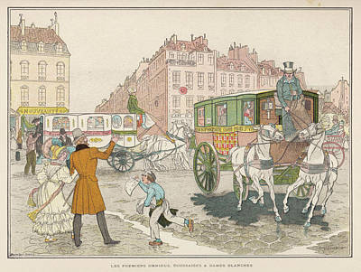 Ply Drawing - The First Omnibuses To Ply The  Streets by Mary Evans Picture Library