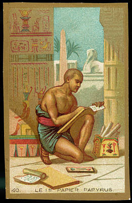 Papyrus Drawing - The First Paper - Papyrus by Mary Evans Picture Library