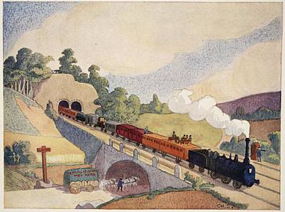Horses Drawing - The First Paris To Rouen Railway, Copy by French School