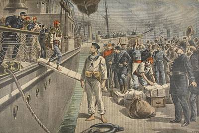 Policeman Wall Art - Drawing - The First Prisoners At Key West by French School