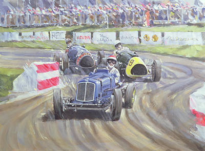 Transportation Painting - The First Race At The Goodwood Revival by Clive Metcalfe