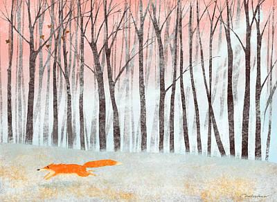 Fox Digital Art - The First Snow by Dmitry Rezchikov