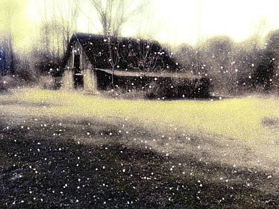 Barns In Snow Photograph - The First Snow Fall On The Old Barn by Lisa  Griffin
