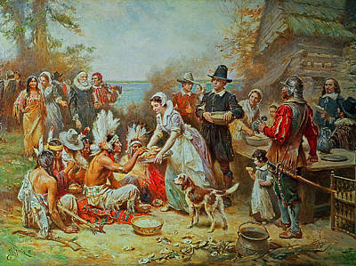 Celebration Painting - The First Thanksgiving by Jean Leon Gerome Ferris