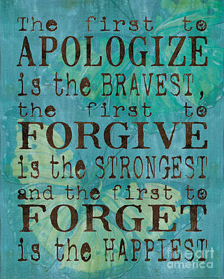 Text Painting - The First To Apologize by Debbie DeWitt