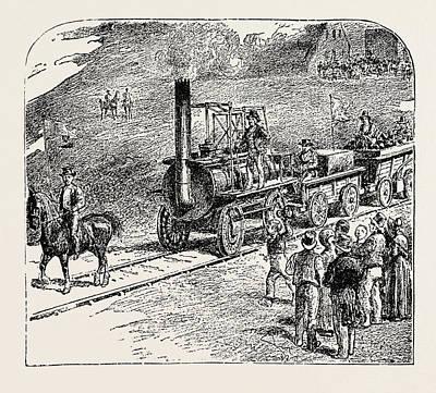 The First Train On The Stockton And Darlington Railway Art Print