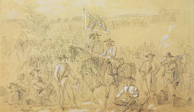 Soldiers Drawing - The First Virginia Cavalry At A Halt by Alfred R Waud