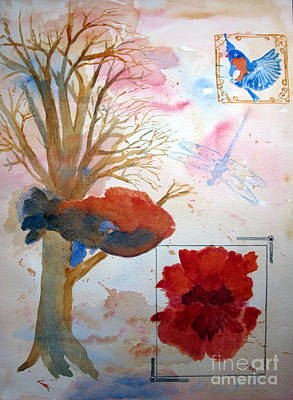 Rose. Collage Painting - The Fish Flower And Bird by Sandy McIntire