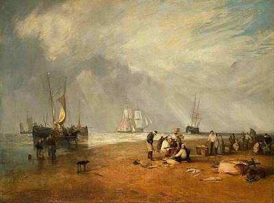 Kansas Oil Painting - The Fish Market At Hastings Beach by JMW Turner
