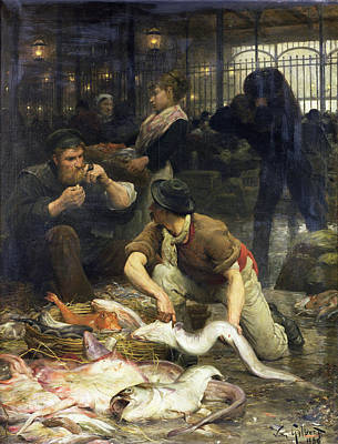 The Fish Market In The Morning, 1880 Oil On Canvas Art Print by Victor Gabriel Gilbert