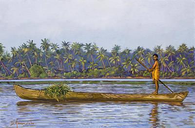 The Fisherman And His Boat Art Print by Dominique Amendola