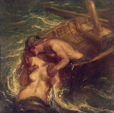 Lovers Kissing Painting - The Fisherman And The Mermaid, 1901-03 by Charles Haslewood Shannon