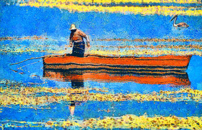 Boat Painting - The Fisherman by George Rossidis