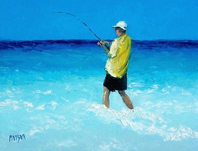 Beach Cabin Painting - The Fisherman by Jan Matson