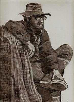 Drawing - The Fisherman by Joan Pye