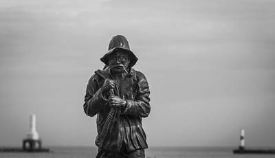 Photograph - The Fisherman Statue In Black And White by Amber Kresge