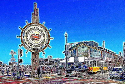 Bay Area Digital Art - The Fishermans Wharf San Francisco California 7d14232 Artwork by Wingsdomain Art and Photography