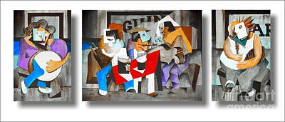 Tin Whistle Painting - The Five Musicians by Val Byrne