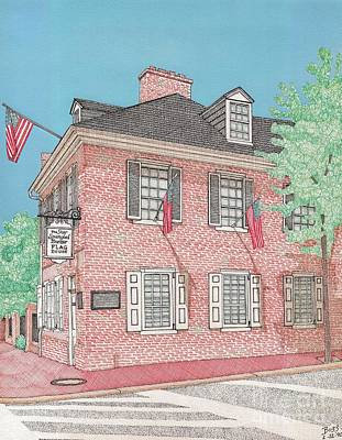 Baltimore City Drawing - The Flag House by Calvert Koerber