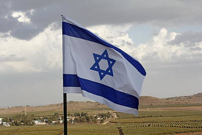 Photograph - The Flag Of Israel Waving In The Golan Heights Israel by Ronald Jansen