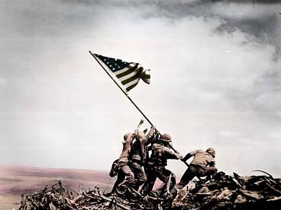 Raising Photograph - The Flag Raising At Iwo Jima World War II by Celestial Images