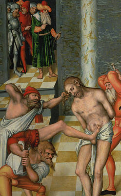 Tied-up Painting - The Flagellation Of Christ by Lucas Cranach