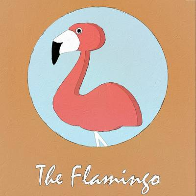 Painting - The Flamingo Cute Portrait by Florian Rodarte